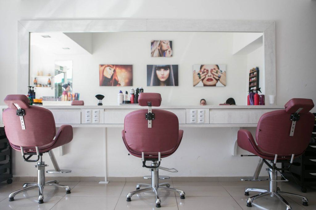 hair salon with three workstations